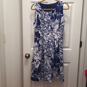 Blue and white fit and flare dress